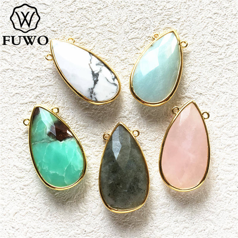 Colgante de piedra de cuarzo Natural FUWO con doble lazo de oro recortado labradorita colgante de ónix de cuarzo rosa para collar PD238