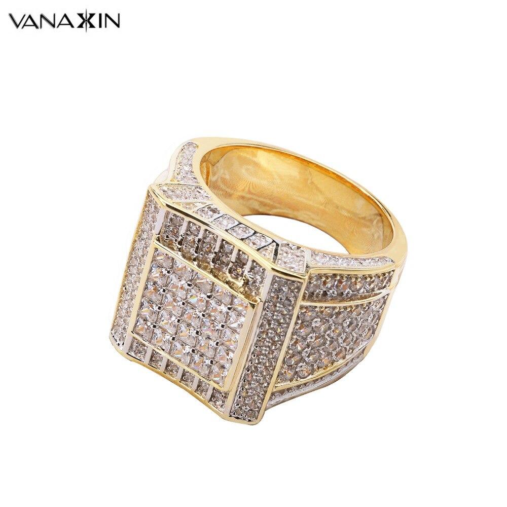Anillo de lujo VANAXIN 925 anillos de plata esterlina Color dorado Hip Hop con circonita cúbica AAA con diamantes de imitación para hombre, joyería ostentosa para el dedo a la moda