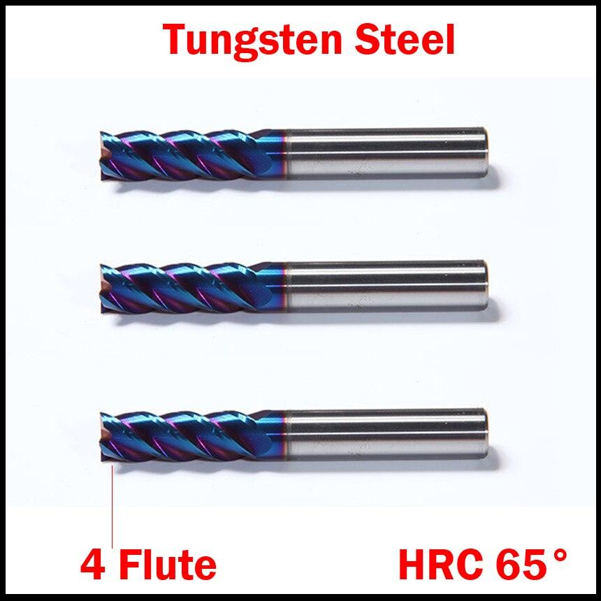1mm 1,5mm 2mm OD HRC65 NACo-azul recubierto de carburo sólido de tungsteno 4 flauta de mango recto CNC herramienta extremo fresa cortador