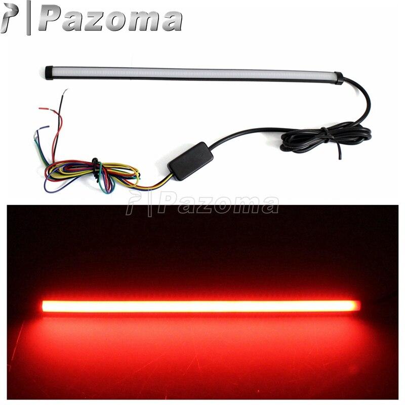 29cm Universal Motorrad LED Licht Streifen Rohr Sequentielle Blinker License Plate Rücklicht Bremse Stop Licht Rot Bernstein farbe