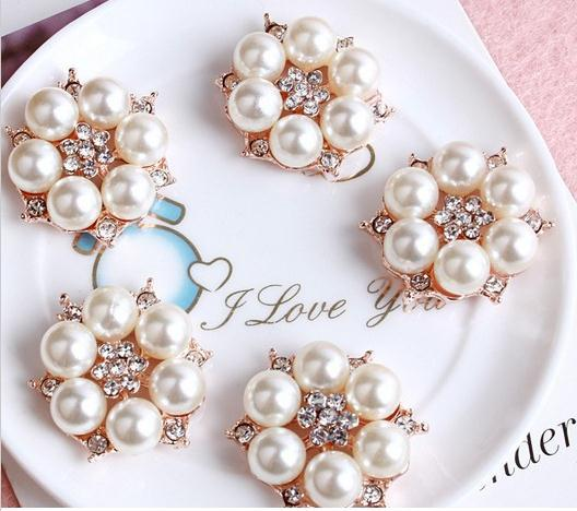 FreeShipping Pearl Jewelry50pcs/lot 26MM metal rhinestone pearl cluster button wedding embellishment garment DIY hair accessory
