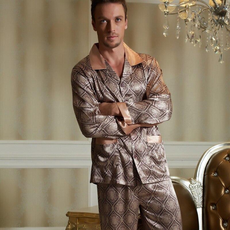 Xifenni пижамы мужские атлас шелк одежда для сна мужские с длинным рукавом пижама брюки комплекты мягкость искусственный шелк пижама +20506