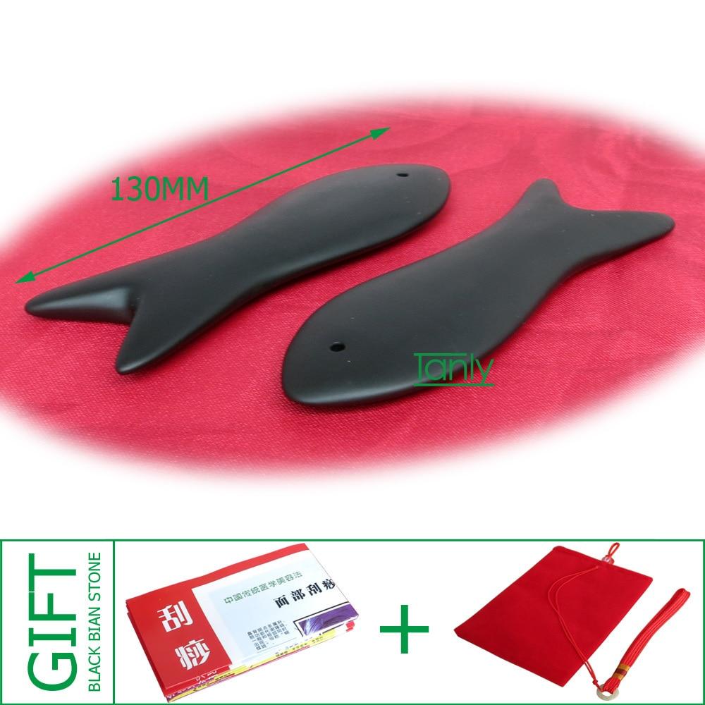 Wholesale & Retail Traditional Massage Tool Fish Board Natural Black Bian-stone