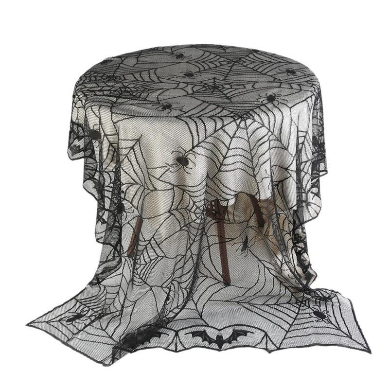 Mantel de mesa de diseño de araña redondo con mantel de encaje NEGRO HERMOSO mantel de fiesta de Halloween suministros de decoración nuevo