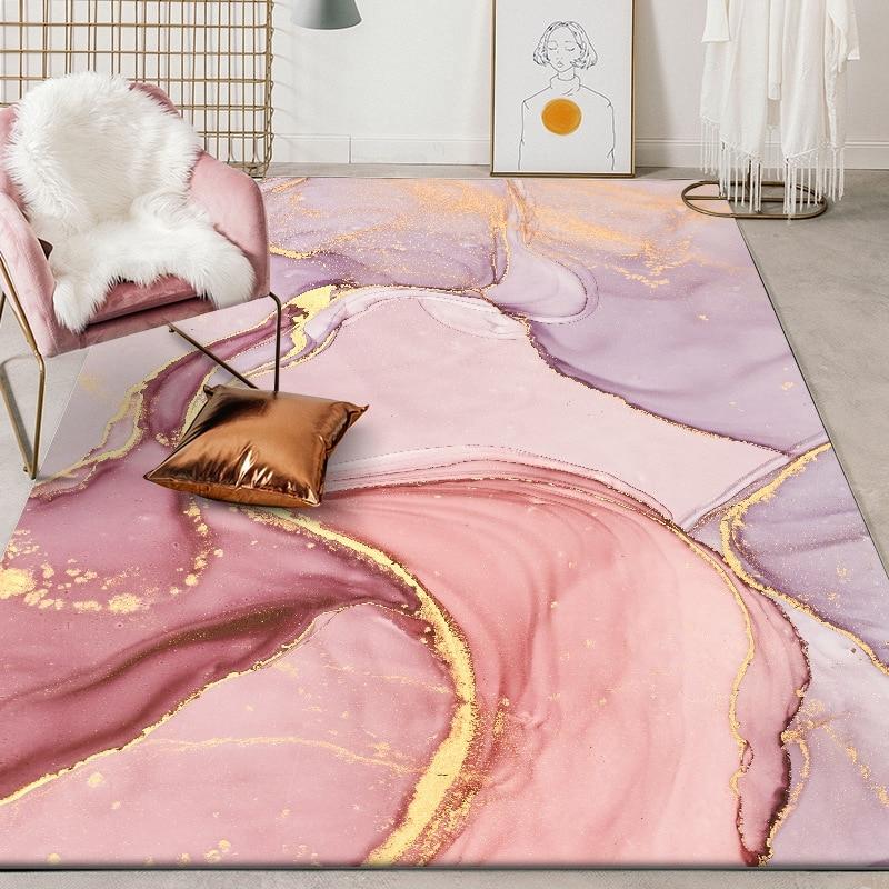 Alfombras abstractas rosadas doradas para sala de estar, dormitorio, pasillo, gran área rectangular, alfombra para Yoga al aire libre, alfombrilla antideslizante, decoración del hogar