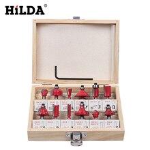 HILDA 12Pcs Milling Cutter 8mm  Router Bit Set Wood Cutter Straight Shank Carbide Cutting Tools