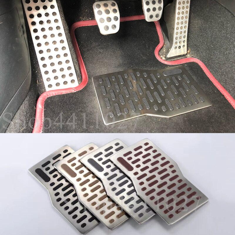 Coche Pad de aluminio Placa de pie del Pedal resto alfombra, alfombras de piso para Nissan juke primera p12 p11 almera gtr xtrail de patrulla qashqai j11