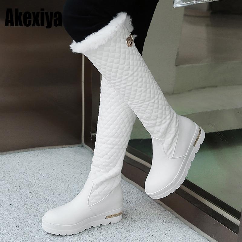 Inverno fundo grosso muffin calcanhar fundo plano grosso branco preto botas de neve botas de salto médio fivela feminina sapatos de algodão k130