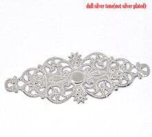 "DoreenBeads Alloy Connectors Findings Flower vine Silver Color Flower Hollow Jewelry 6.1cm(2 3/8"")x 24mm(1""),6 PCs"