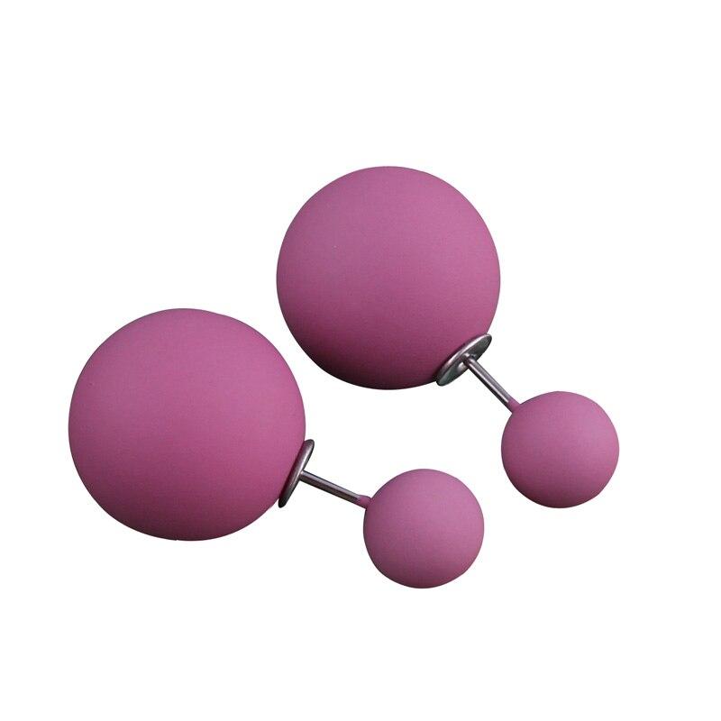 10 couleurs nouveauté classique moins cher bonbons couleurs caoutchouc Double côtés grande perle boucles doreilles mignon perle balle boucles doreilles pour les femmes