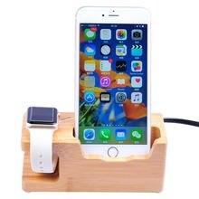 Cargador de 3 puertos Usb, soporte organizador de teléfono, soporte de cuna para Apple Watch y estación de carga de madera de bambú de escritorio de 15W 3A para Iwatc