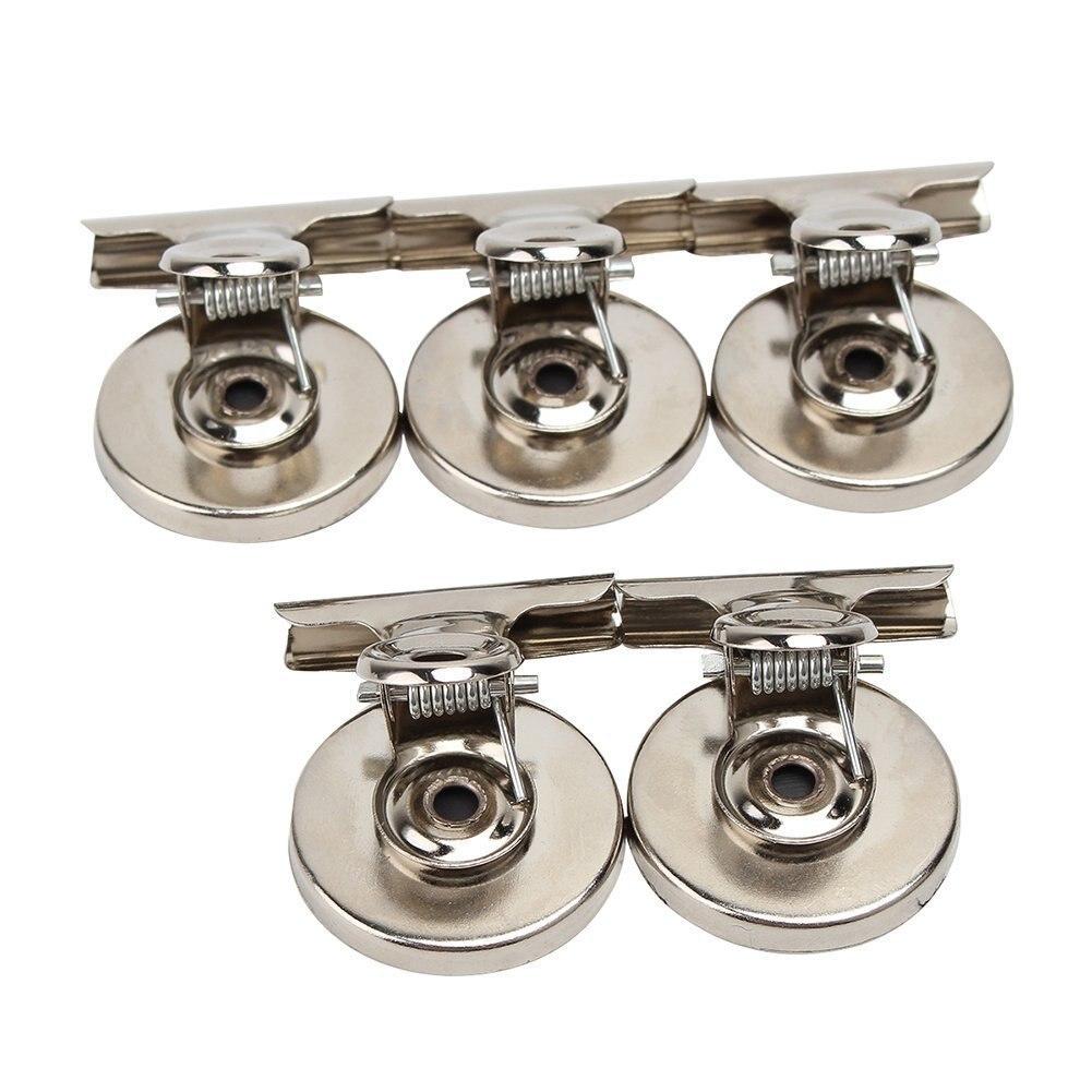 Gran oferta 5 uds. Clips magnéticos para nevera soporte para notas de mensaje agarre magnético para el hogar Oficina Metal