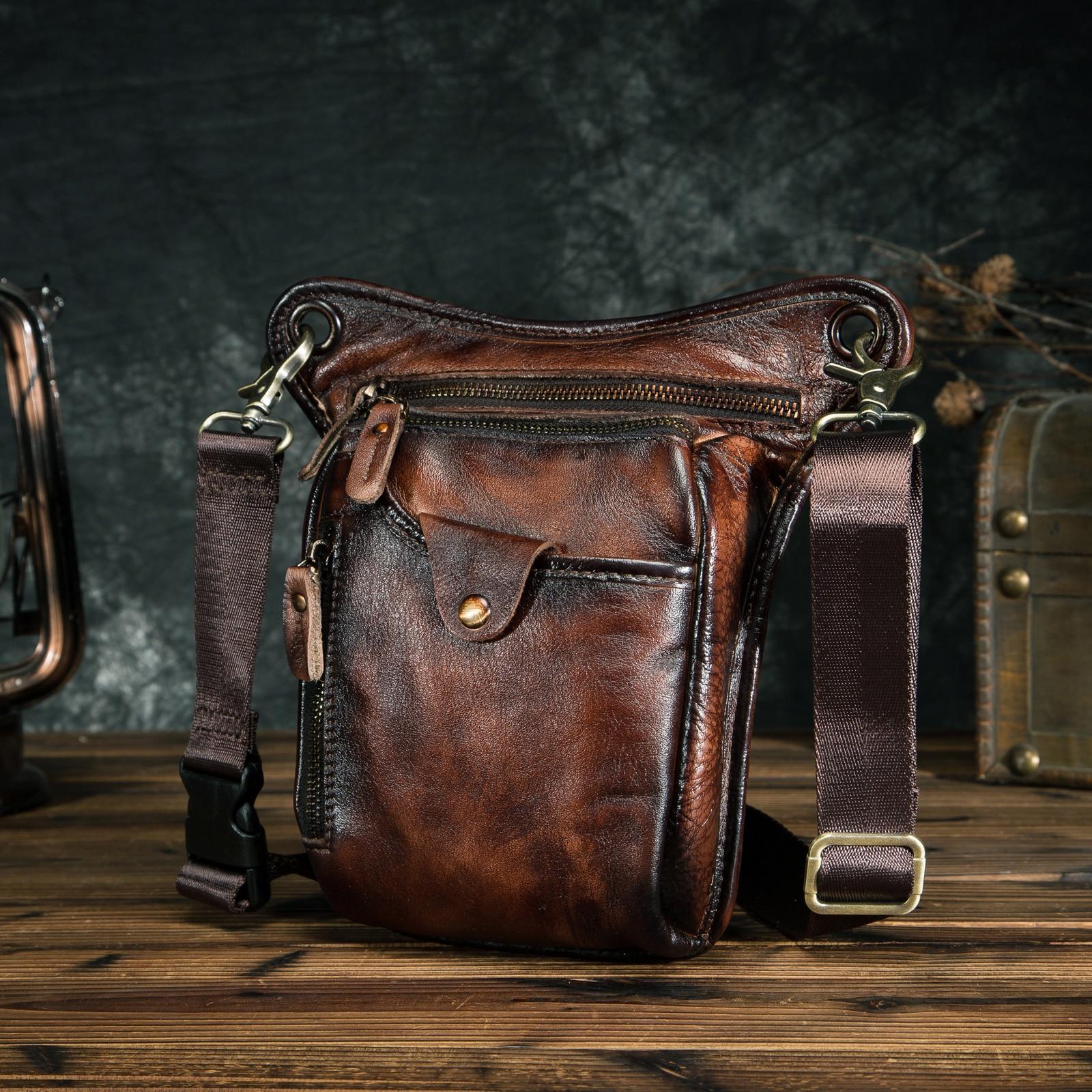 Genuine Leather Men Design Casual Brown Classic Shoulder Sling Bag Fashion Travel Fanny Waist Belt P