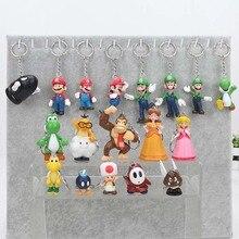 18 قطعة/المجموعة سوبر ماريو بروس لويجي المفاتيح الخوخ العلجوم عمل أرقام youshi ماريو هدية OPP
