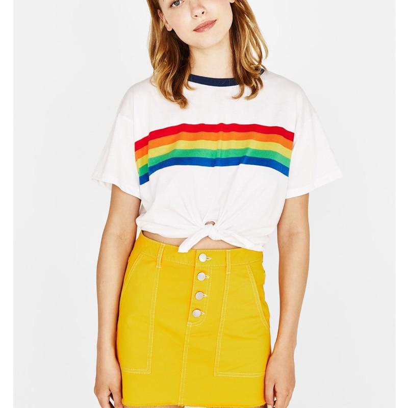 Женский укороченный топ радужной расцветки, летние белые милые винтажные базовые Топы для подростков с графическим рисунком, одежда размера плюс, большие размеры