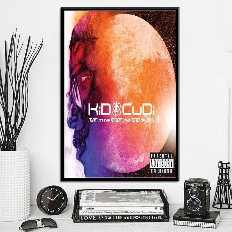 P229 Kid Cudi Man on the Moon Hot New Album Music Cover Hip Hop Rap Rapper Star Art Painting Silk Canvas Poster Wall Home Decor