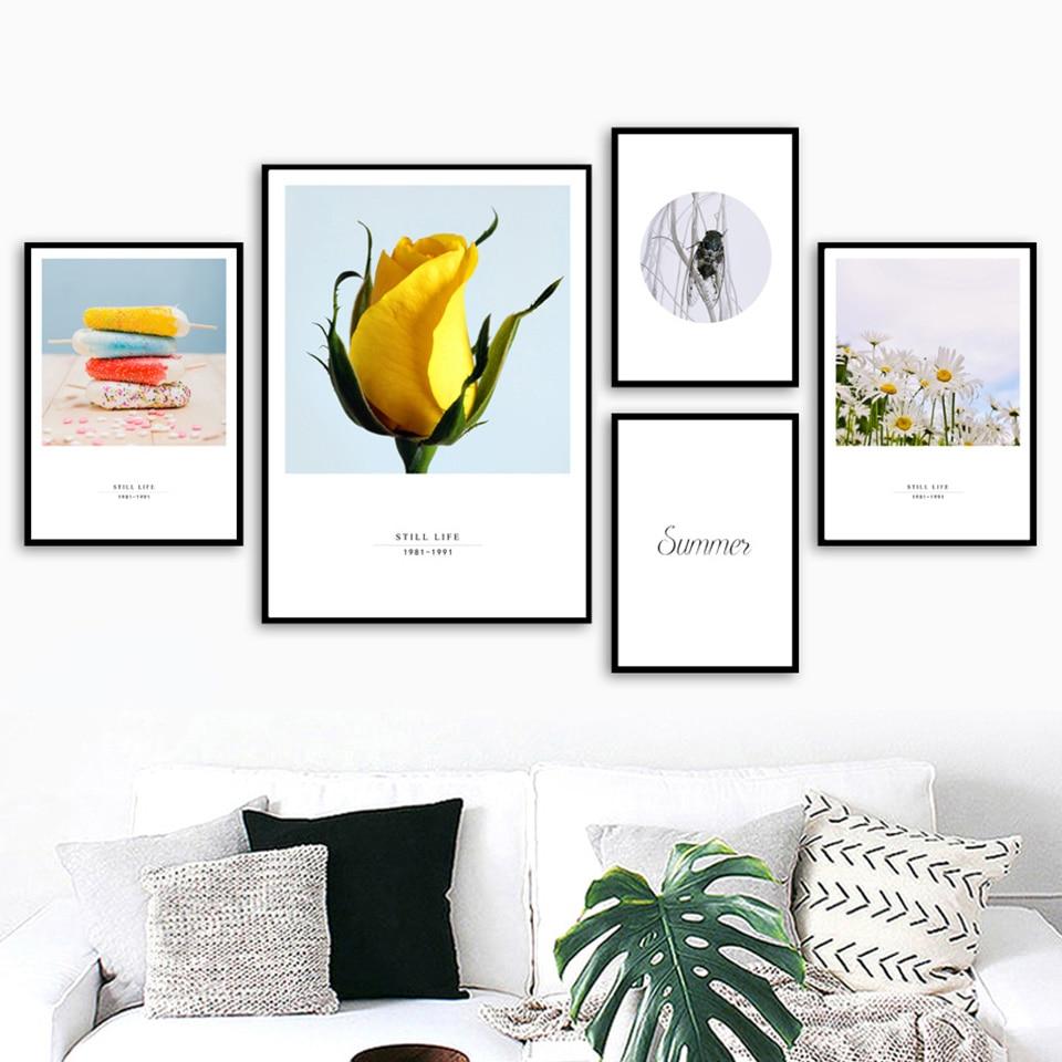 Lienzo moderno pintura amarillo flor nórdico Cicada póster impresión minimalista pared arte verano foto hogar Deco sala de estar dormitorio