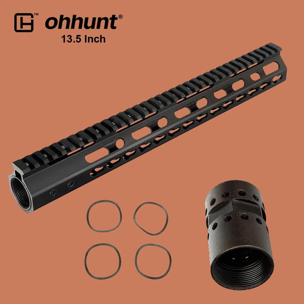 ohhunt Tactical 13.5 Inch AR15 Free Float Picatinny Rail Keymod Handguard with Steel Barrel Nut for AR-15 M16 Riflescope Mount