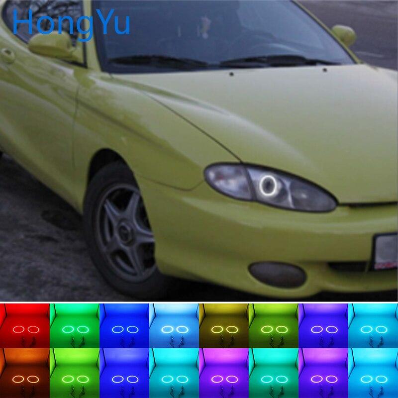 Multi-color RGB LED Halo Ojos de Ángel anillo ojo DRL RF Control remoto para Hyundai Tiburon coupe 1996, 1997, 1998, 1999