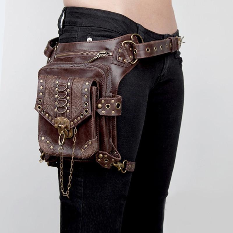 Steampunk ladies bag leather suede leather gothic bag men and women Messenger bag travel pocket