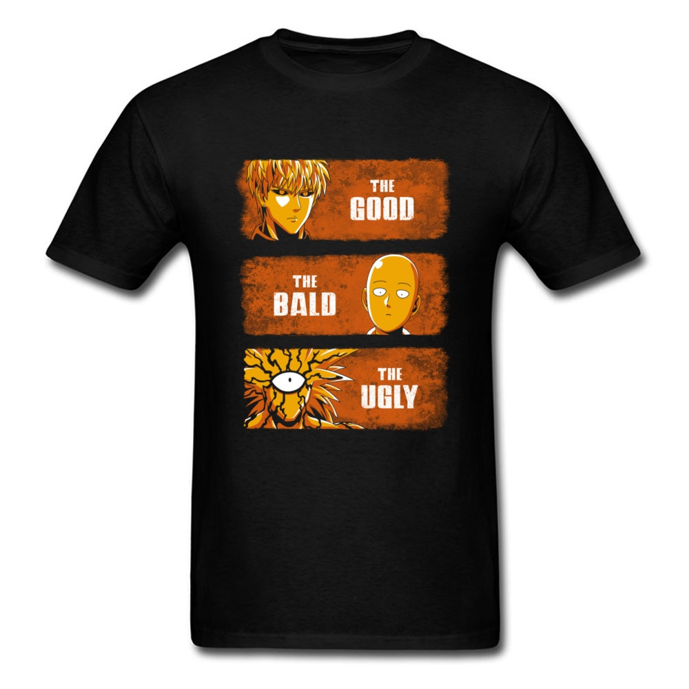 Camiseta graciosa The Good The Bald And The Ugly One Punch para hombre, camisetas de cómic, ropa de estilo japonés, camisetas negras, camiseta de héroe
