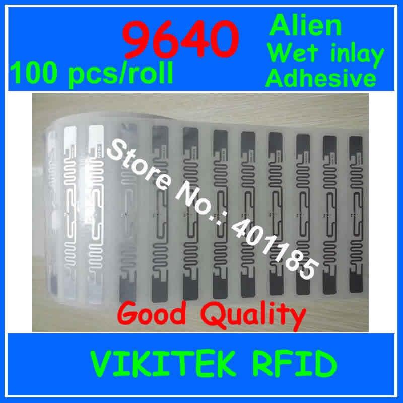 الغريبة authoried 9640 100 قطعة لكل لفة الغراء لاصق UHF RFID الرطب البطانة 860-960MHZ Higgs3 EPC C1G2 ISO18000-6C تستخدم RFID علامة التسمية