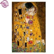Peinture en diamant 5D bricolage   Carré complet, Gustav Klimt le baiser, broderie point de croix, strass, peinture mosaïque, cadeau de décor