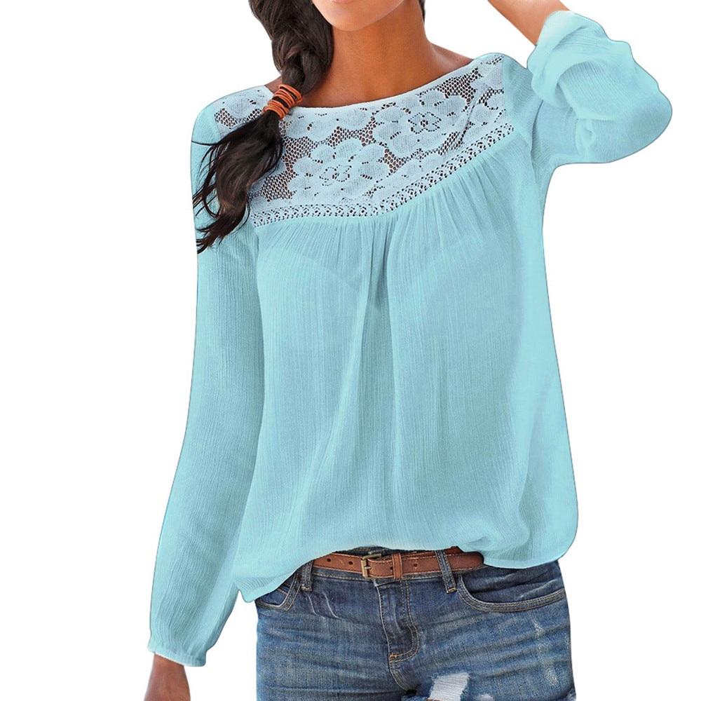 Blusa para Mujer, camisa informal de manga larga con retazos de encaje, blusa de calle, ropa Retro de manga larga, Top, Camisas para Mujer 2019 # JY