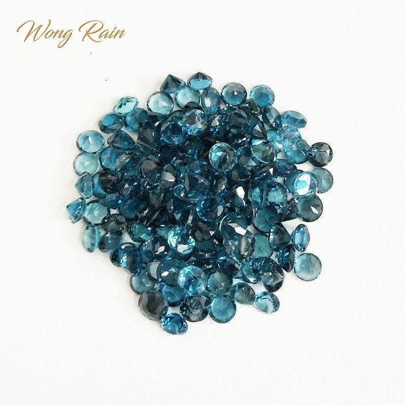 Wong Rain 1 Uds Natural 5 MM redondo Natural Londres Topacio Azul piedra preciosa suelta DIY decoración joyería al por mayor lotes