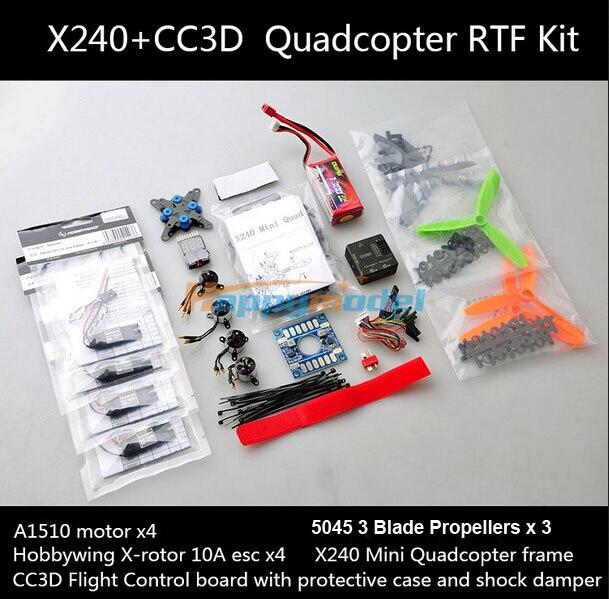 X240 Mini FPV fibra de vidro Quadcopter 4-Axis quadro 240 com CC3D controlador do Motor da hélice RTF Combo Kit melhor do que QAV 250