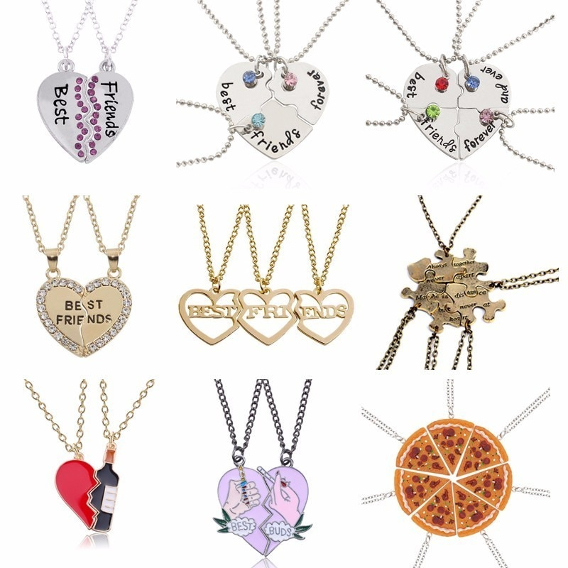 2017 Fashion Bohemian Best Friends BFF Pendant Necklaces 3 PCS/Set Charms Heart Necklace Rhinestone Choker Statement Necklace