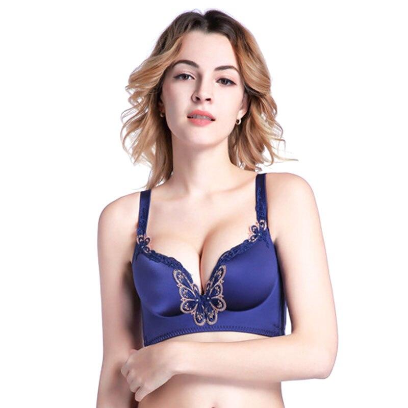 Sanderala Sexy femmes broderie Push Up soutien-gorge confortable papillon sous-vêtements sans fil sans couture ajusté brassière intimes