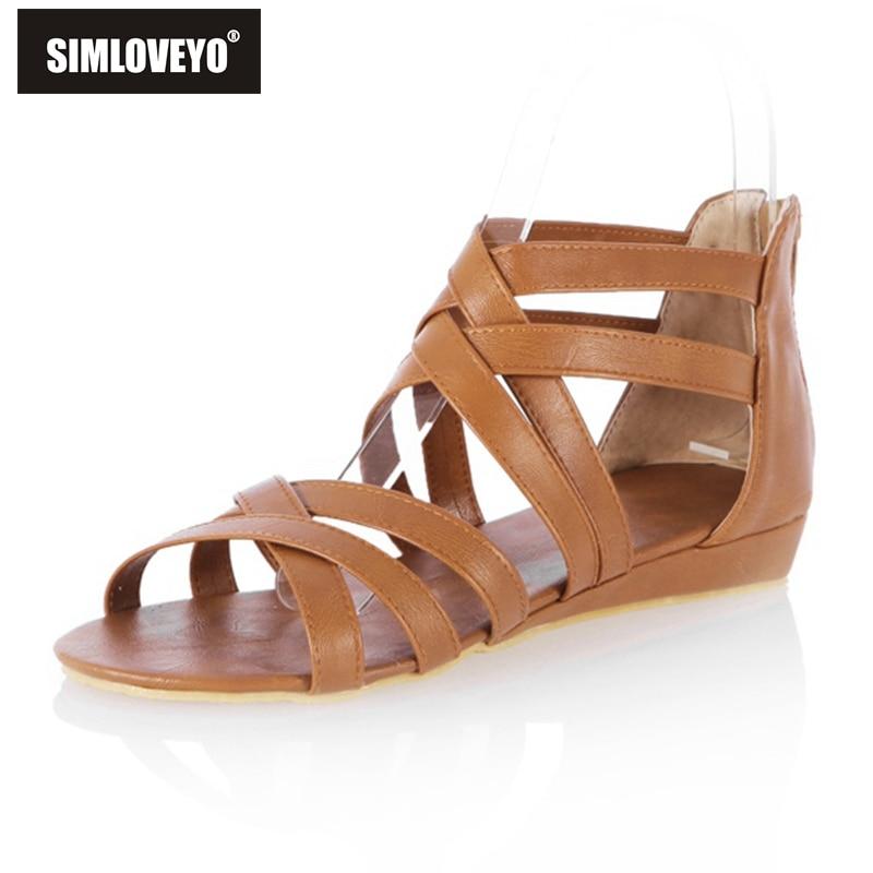 Sandalias planas de Gladiador, zapatos casuales bohemios para mujer, Sandalias planas, zapatos para mujer con correas, venta de fábrica de cremallera, talla grande 40 41 42 43