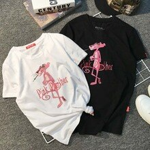 Camiseta blanca de algodón Pantera Rosa Negra para mujer, camiseta para mujer, de manga corta, camisetas informales de gran tamaño, camisetas superiores de verano para mujer