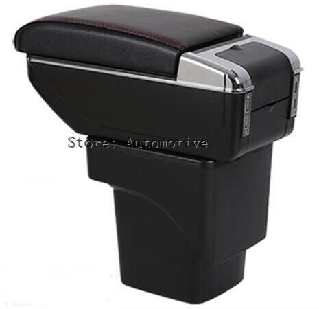 Car Dual-Layer Armrest Fit For Ford Focus 2 MK2 2005-2011 Arm Rest Center Console Storage Box Tray Leather Accessories 2010 2009