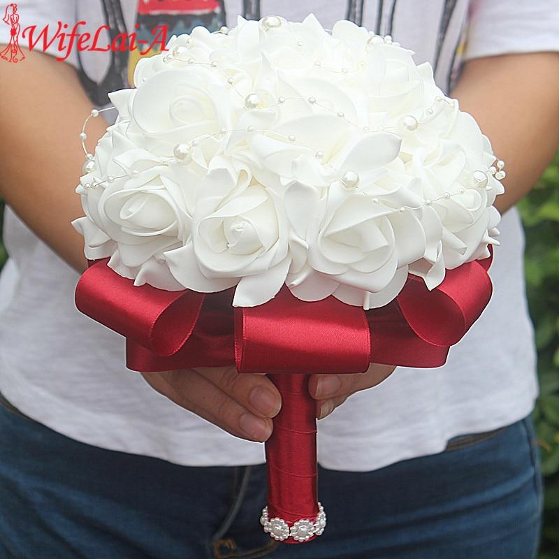 Евтини PE роза шаферка сватбена пяна цветя роза булчински букет сватбен букет с панделка