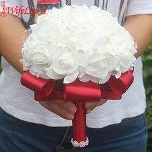 Ramo de flores de espuma para dama de honor, cinta de boda falsa, barata, personalizada