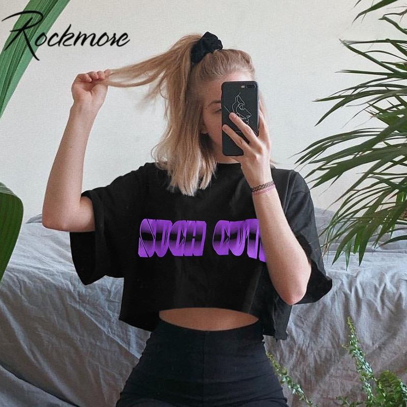 Camiseta Rockmore negra Harajuku de moda para mujer, Camiseta holgada Coreana de media manga de algodón con estampado informal, Tops de mujer para verano