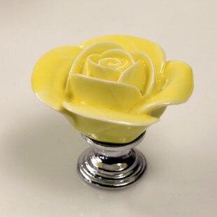 4PCS Vintage Rose Flower Ceramic Door Knob Cabinet Drawer Kitchen Cupboard Handle decorative door cabinet knobs handles pulls