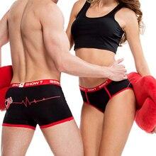 Preto/branco casais amantes sexy roupa interior dos homens boxer calcinha feminina respirável impressão shorts roupa interior
