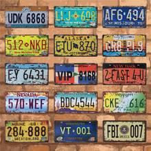 Affiche de Plaque dimmatriculation de Garage   Signe mural en étain de Route, Oregon Minnesota Vintage Metal Bar Club, décoration de numéro de voiture, affiche de Plaque dimmatriculation 15X30CM C19
