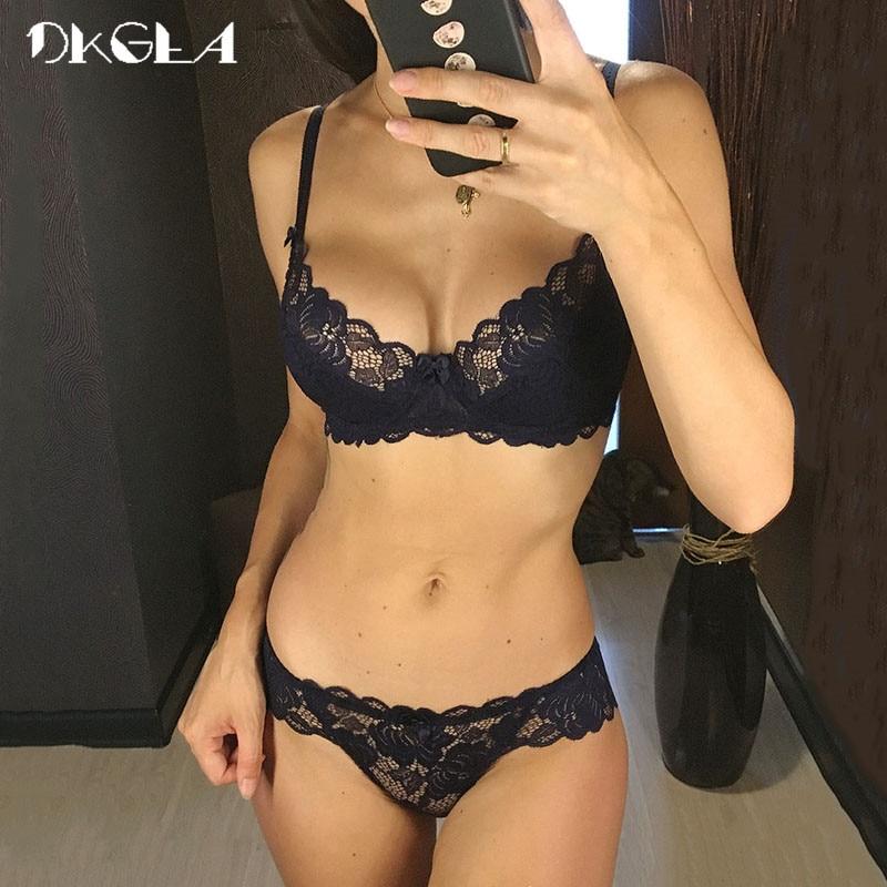 Hollow Sexy Bra Ultrathin Underwear Set Plus Size C D Cup Women Transparent Bra Sets Lace Embroidery Lingerie Gray Brassiere
