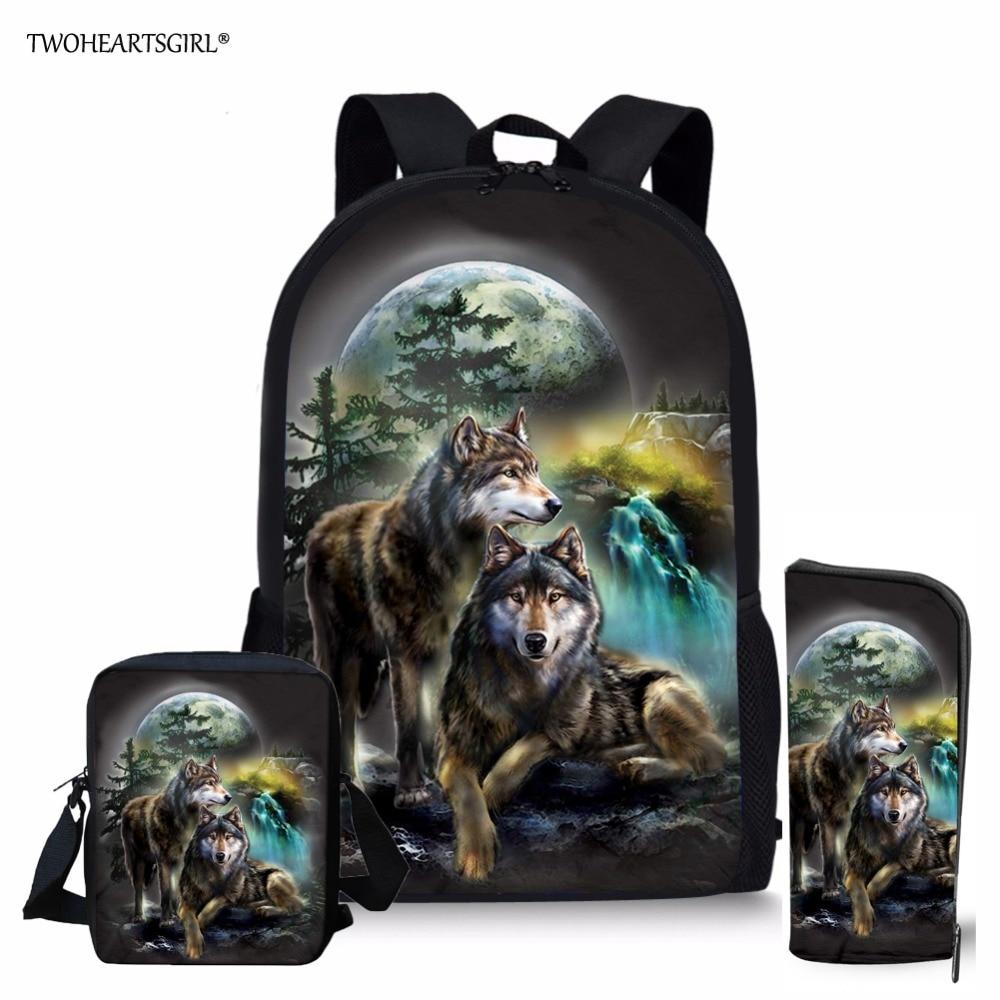Twoheartsgirl Lobo genial mochilas estampadas para adolescentes niñas niños mochilas escolares para niños mochilas escolares de moda para niños