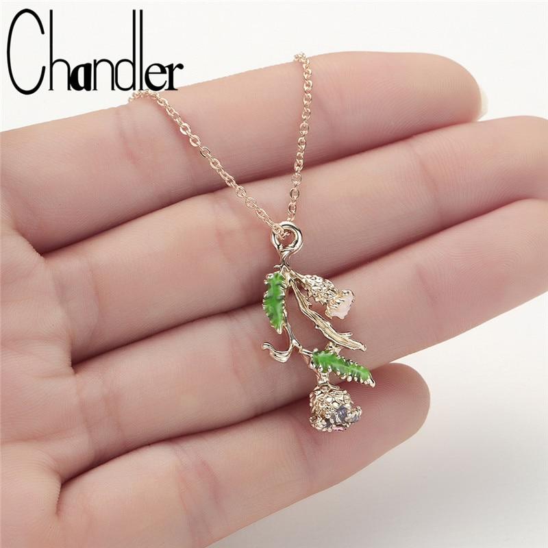 Collar largo de la hoja de la flor de Chandler, planta exquisita de estilo coreano, Collares de clavícula, joyería, regalos del Día de San Valentín