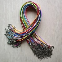 wholesale 100pcslot 1 5mm mixed wax leather cord rope necklaces 45cm with lobster clasp jewelry for diy pendants free shipping