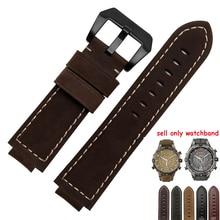 24*16mm bracelet de montre en cuir véritable noir lisse ceinture marron Nubuck cuir bracelet de remplacement pour Timex T2N739 T2N721 720