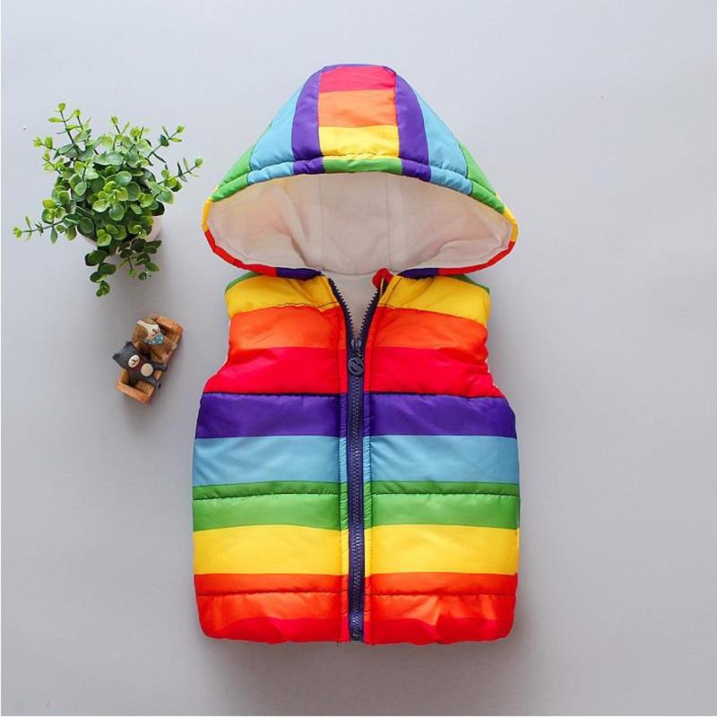 Winter Warm Kids Rainbow Vests Boys Girls Autumn Outerwear Children Sleeveless Hooded Jackets Parkas Gilet Baby Cotton Coats