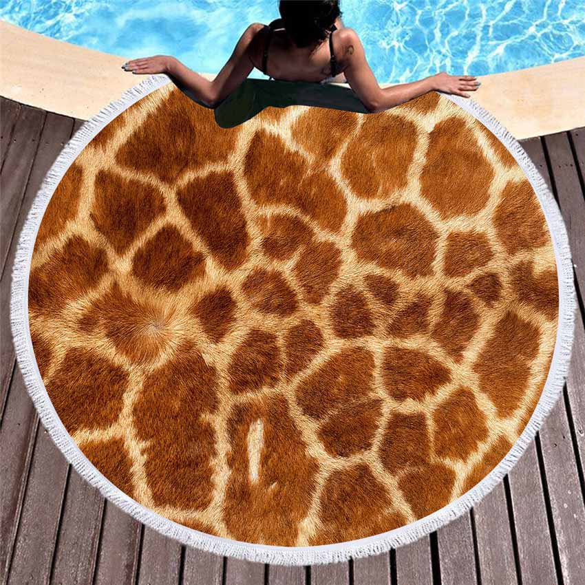 Strand Handtücher Tier Haut Streifen Mikrofaser Runde Für Erwachsene Kinder Hause Meer 150cm Decke Wandteppich Yoga Matte Mit quasten