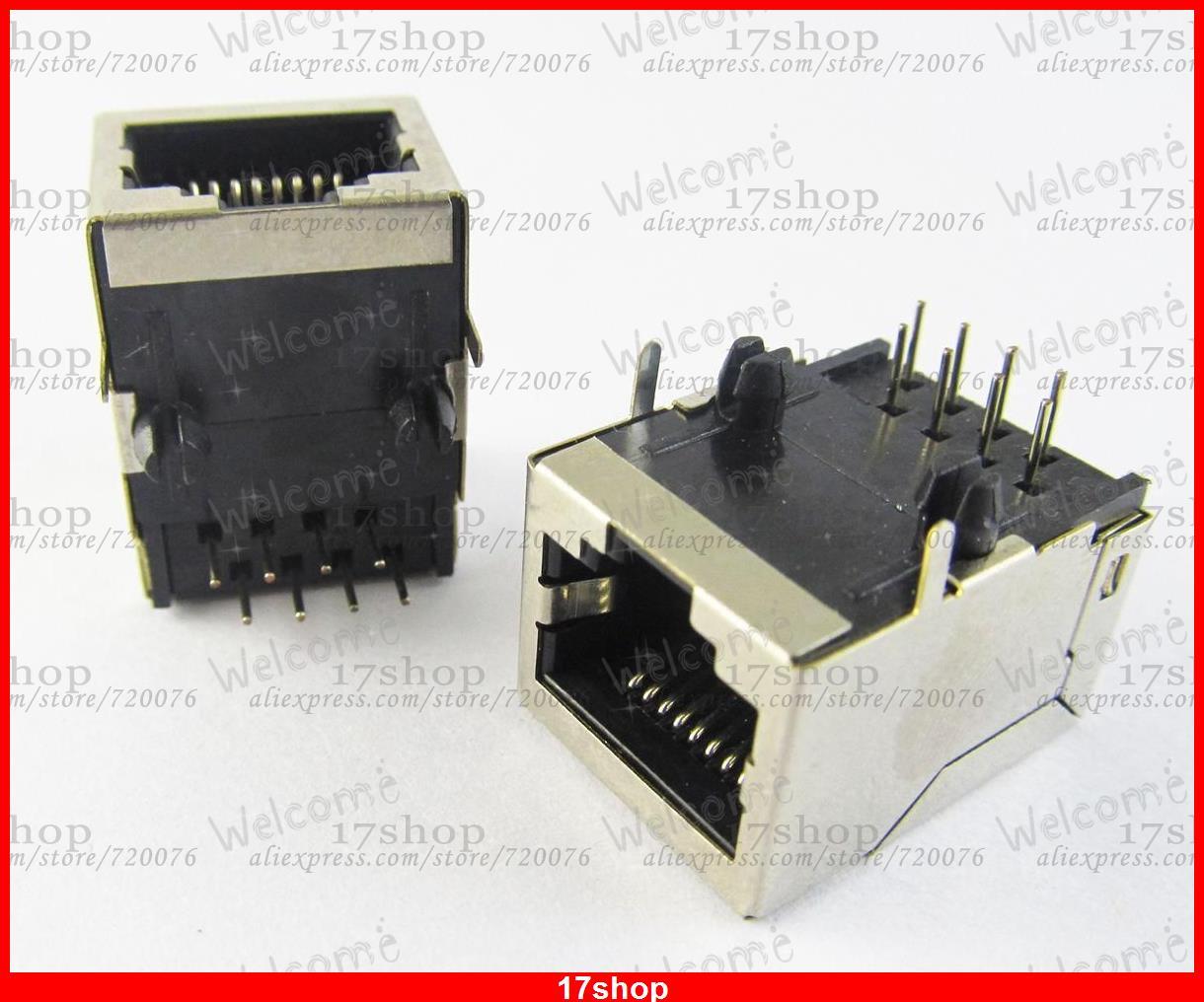 موصل مقبس شبكة LAN ، 100 قطعة ، موصل شبكة معياري RJ45 59 8P8C PCB
