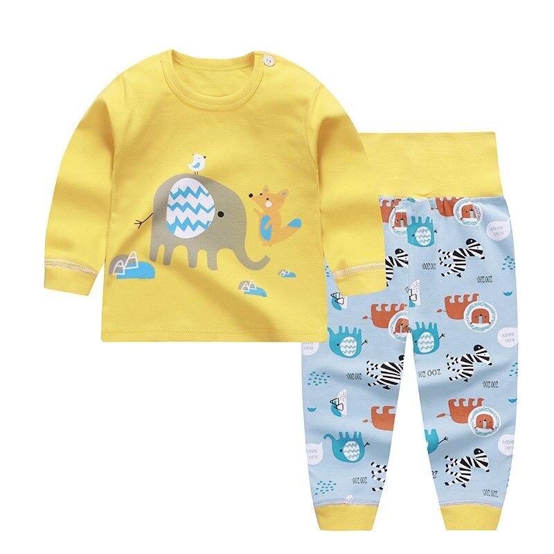 Cartoon Print Baby Pajamas Sets Cotton Boys Sleepwear Autumn Spring Girls High Waist Long Sleeve Tops+Pants 2pcs